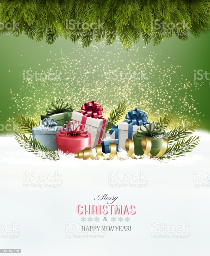 Holiday Christmas background with a gift boxes Vector vector art illustration
