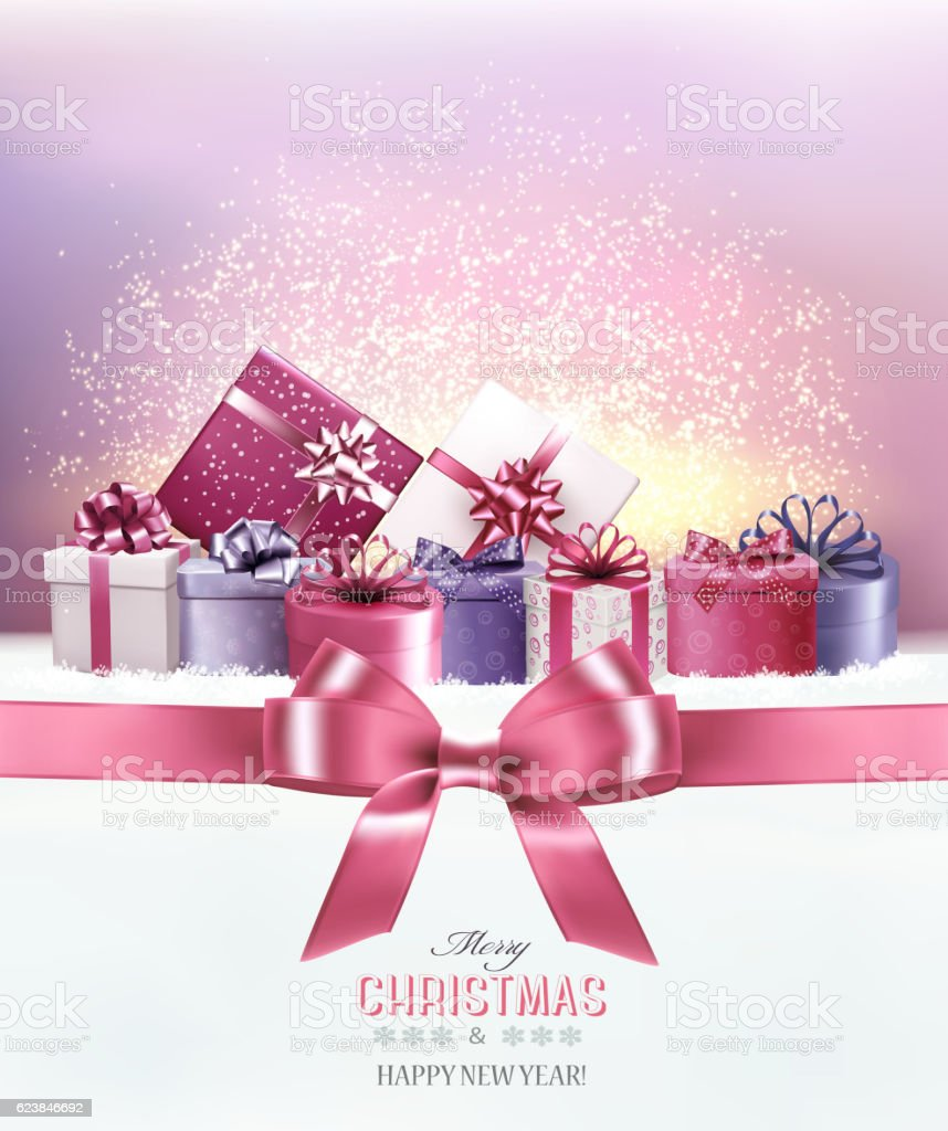 Holiday Christmas background with a gift boxes.and pink bow Vect vector art illustration