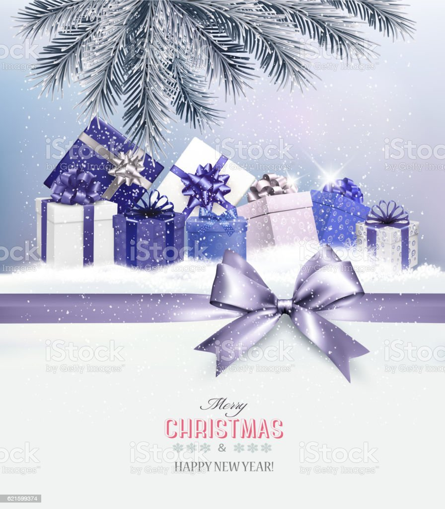 Holiday Christmas background with presents.and a gift bow Vector vector art illustration