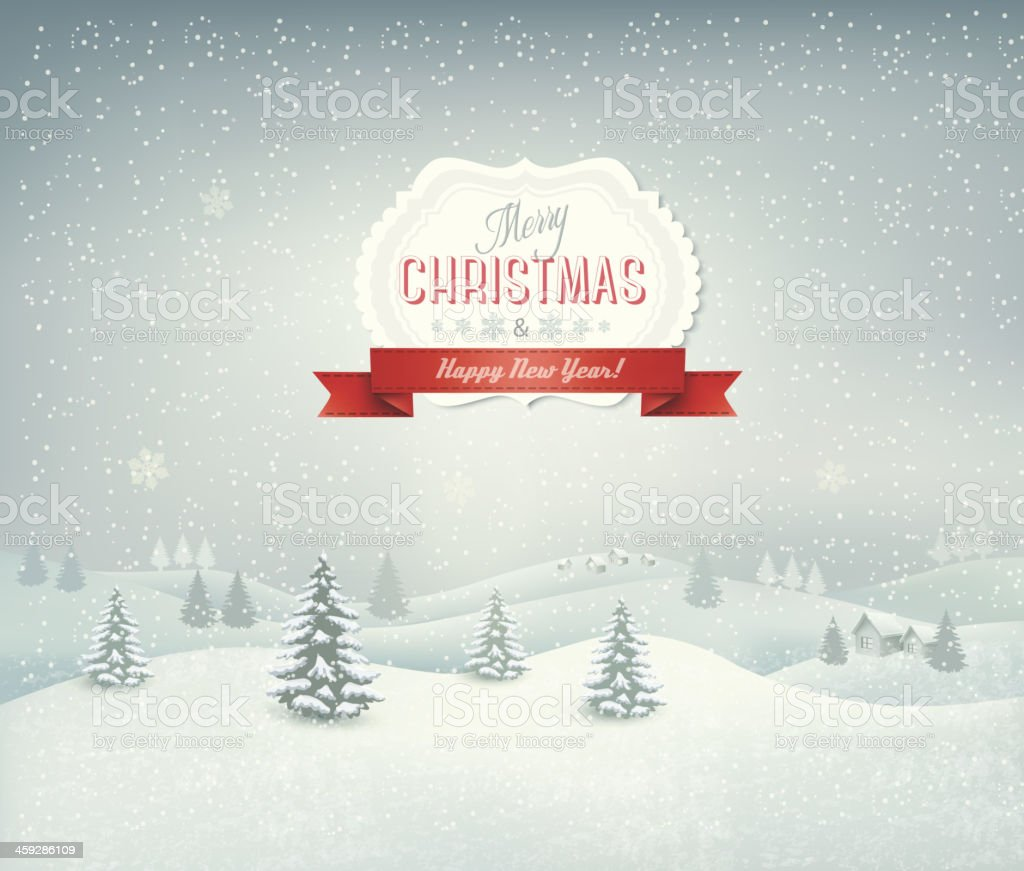 Holiday christmas background with winter landscape vector art illustration