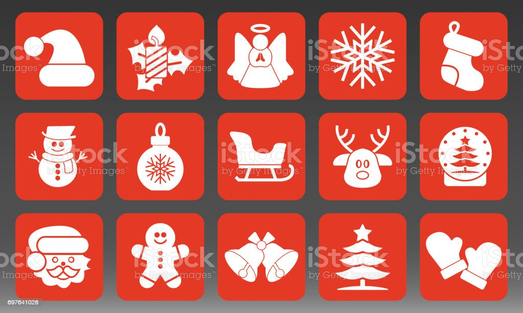 Holiday Christmas Icons Set Vector Illustration vector art illustration