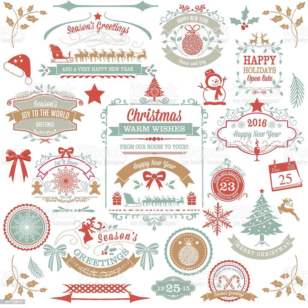 Holiday Christmas Label Tag Set vector art illustration