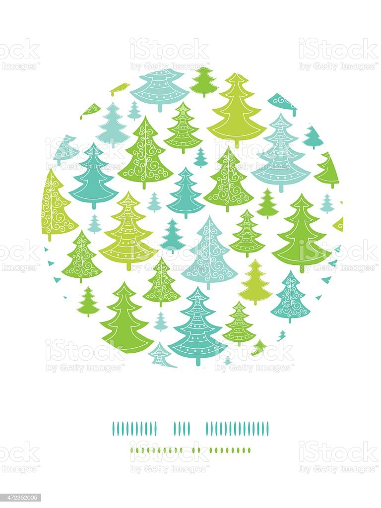 Holiday Christmas trees circle decor pattern background royalty-free stock vector art