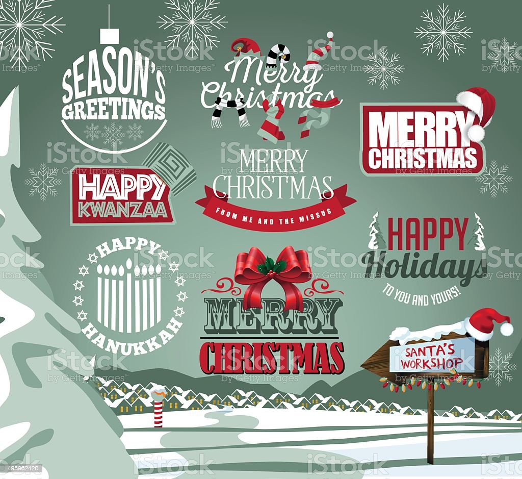 Holiday collection of labels, emblems and type treatments vector art illustration