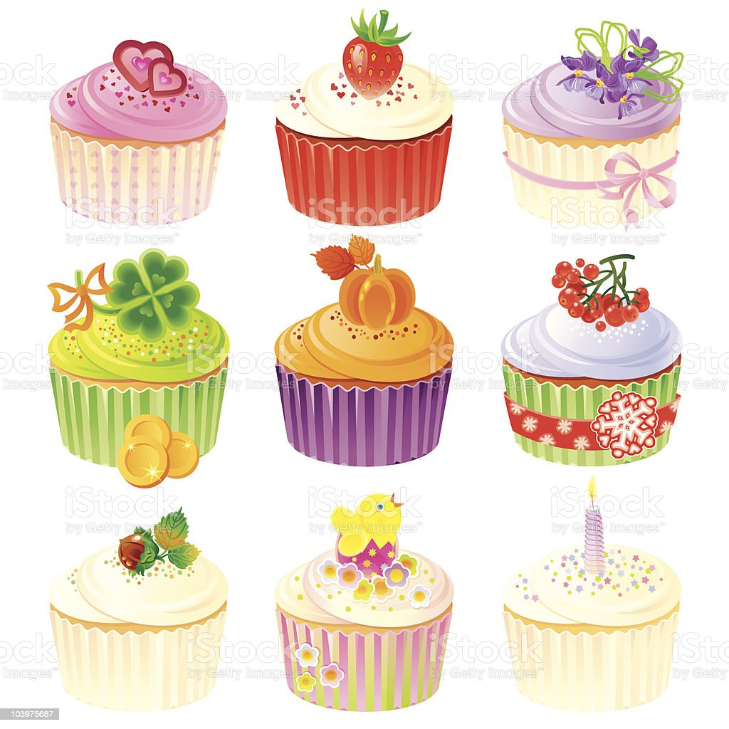 Holiday Cupcakes vector art illustration