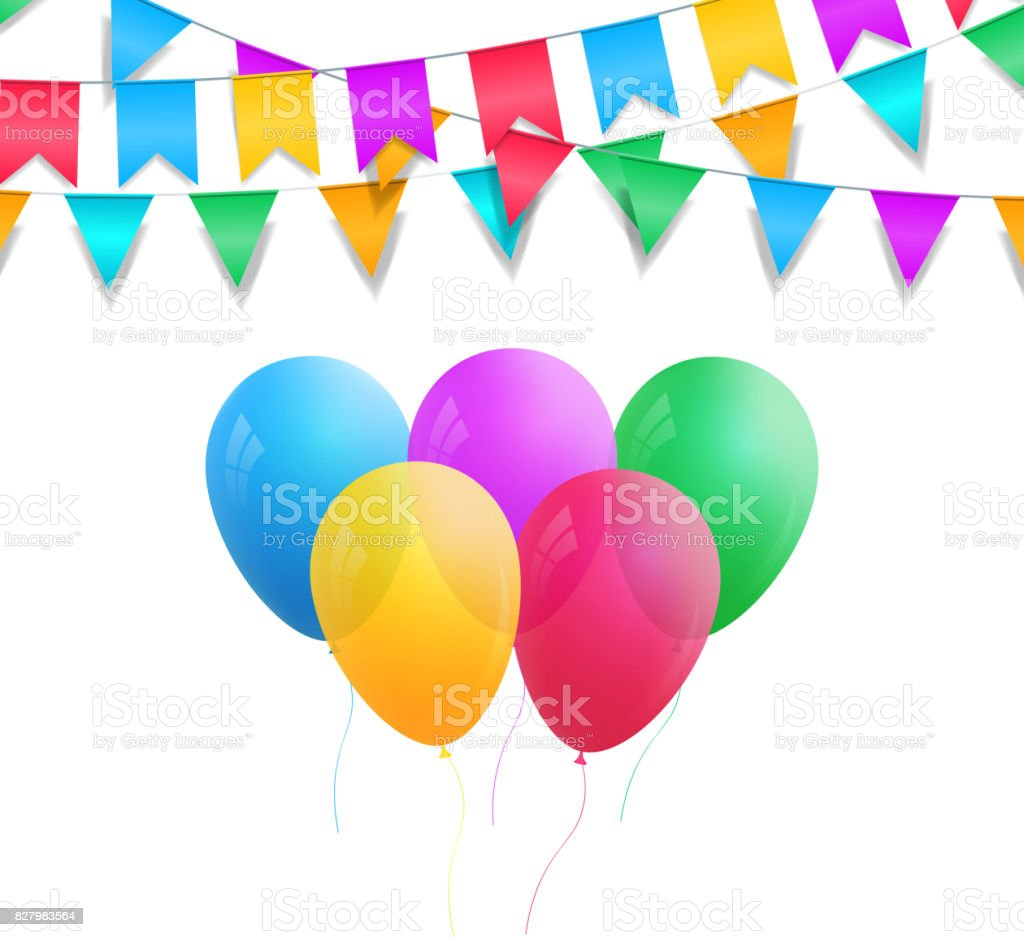 Holiday decorations. Colorful balloons and bunting garlands. Realistic holiday balloons isolated. vector art illustration