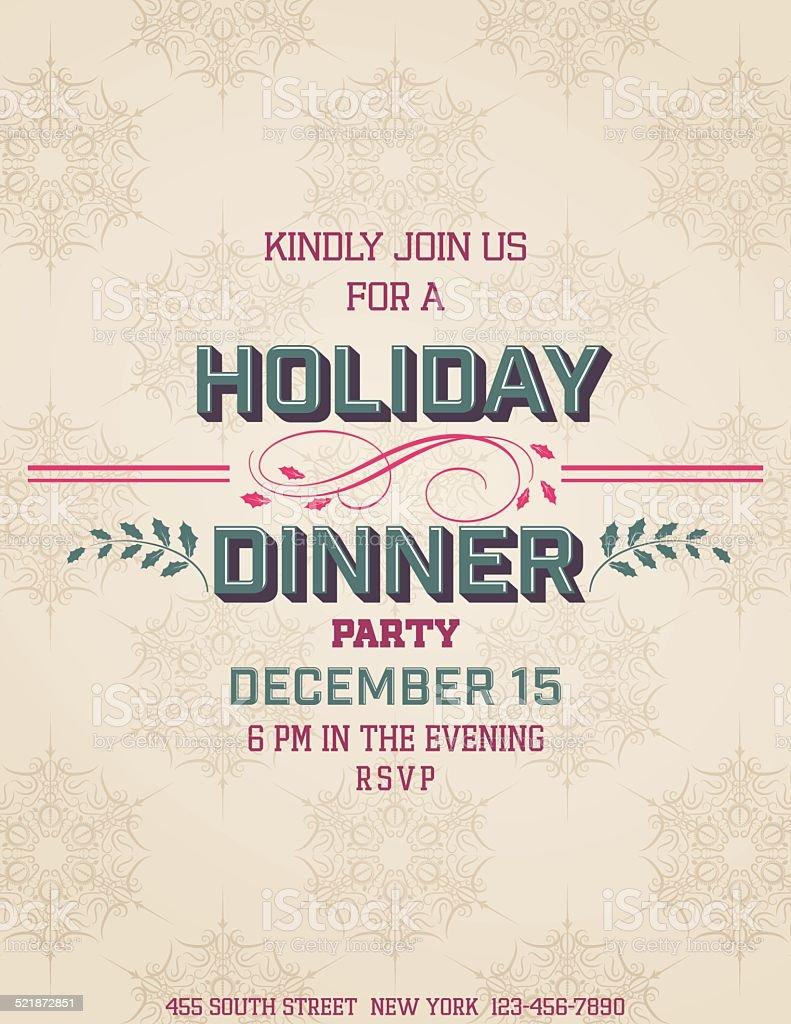 Holiday Dinner Invitation Template vector art illustration