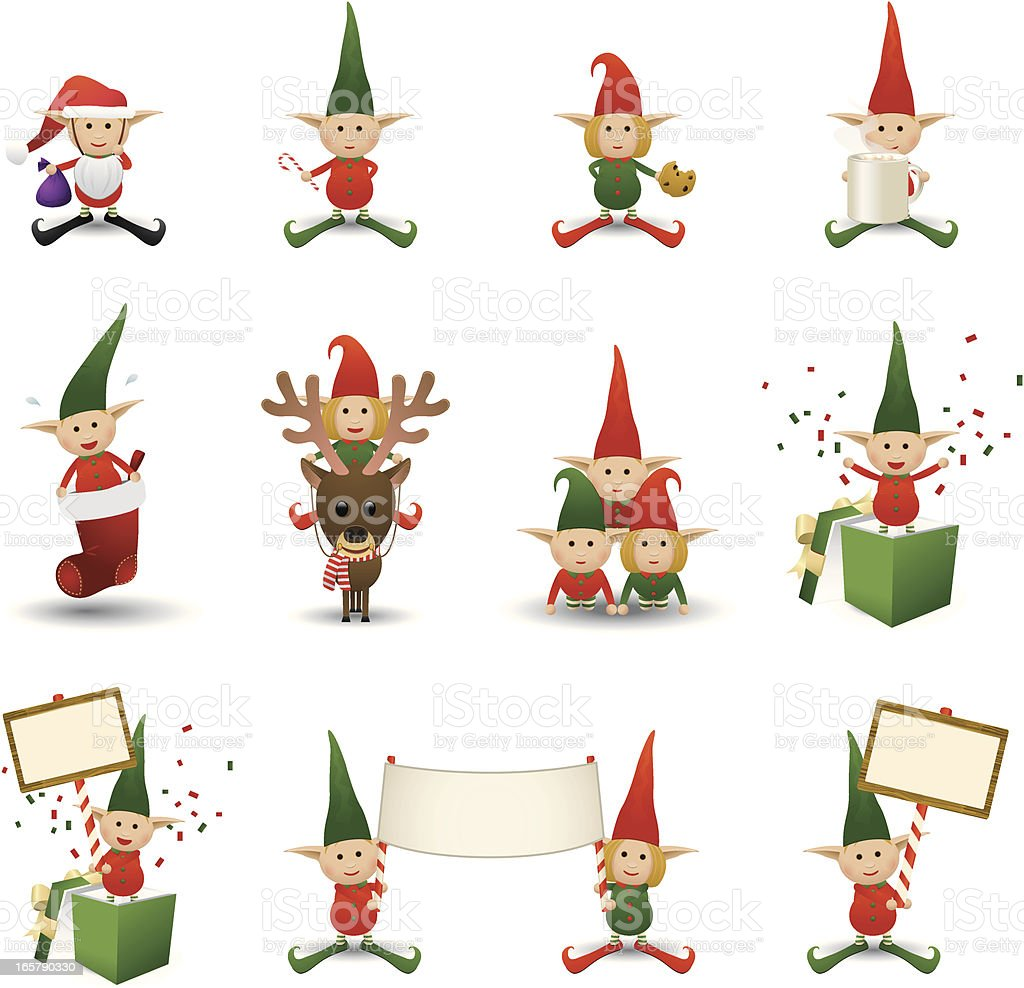 Holiday Elves royalty-free stock vector art