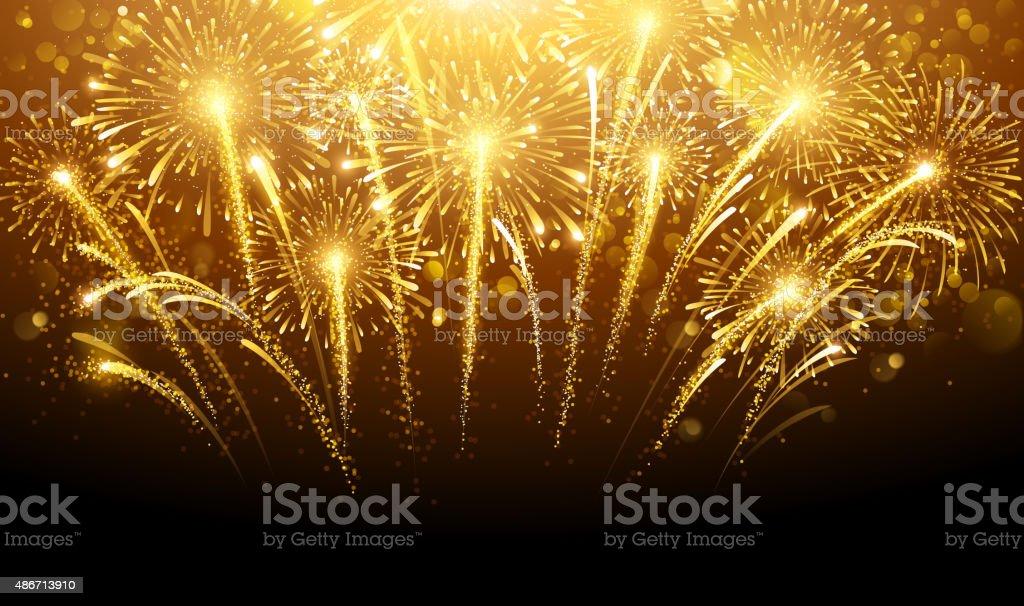 Holiday fireworks vector art illustration