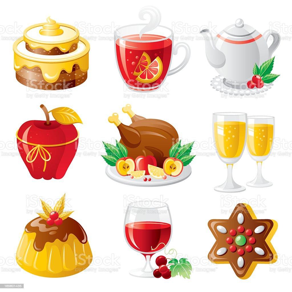 Holiday food icon set vector art illustration