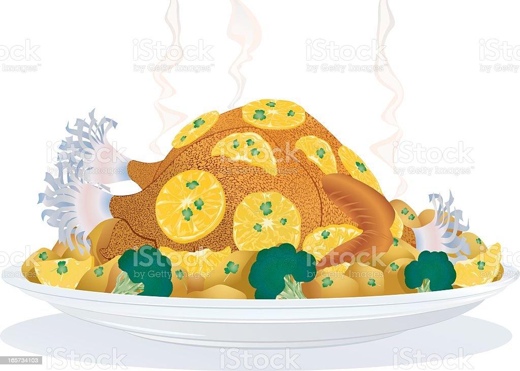 Holiday Food - Roasted Lemon Chicken vector art illustration