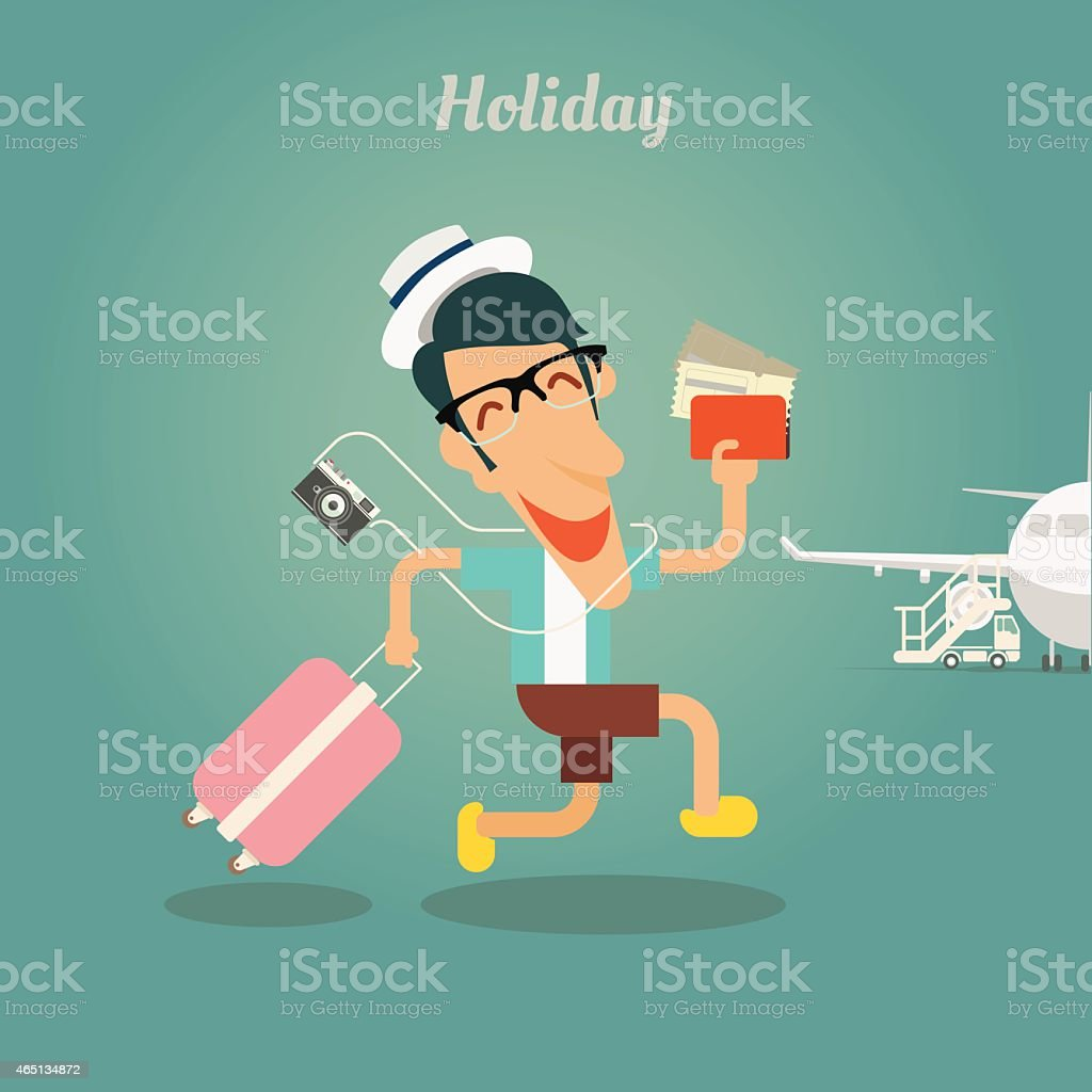 Holiday for businessman, walking with travel bag vector art illustration