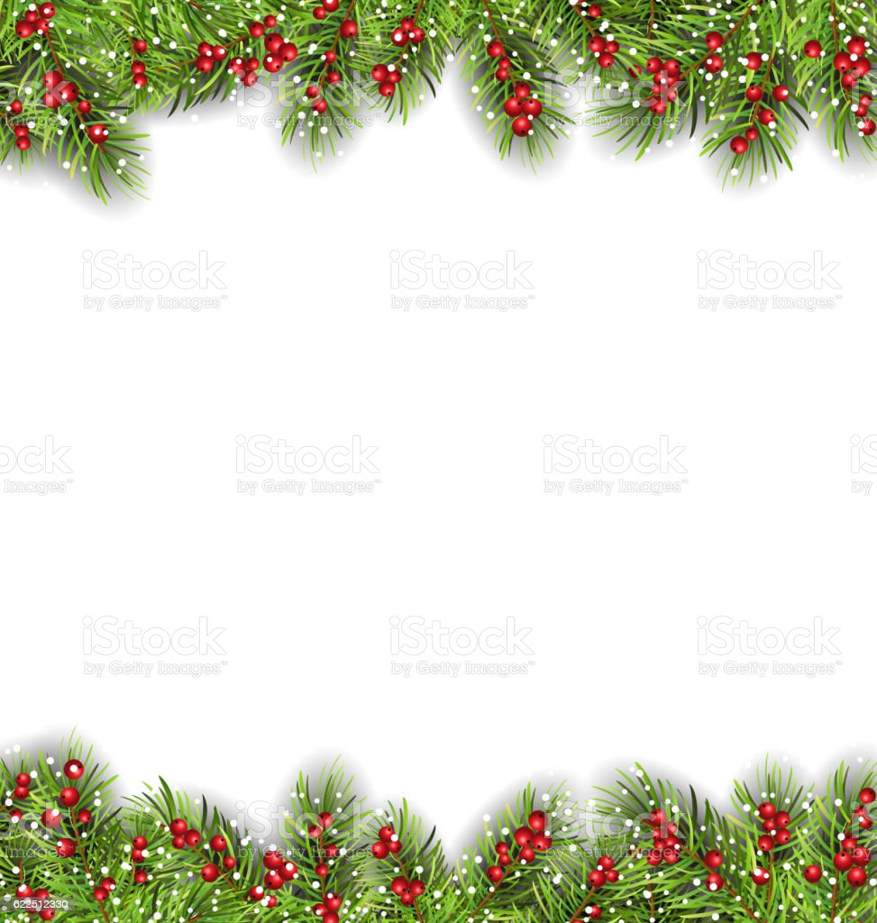 Holiday Frame with Fir Branches and Holly Berries vector art illustration