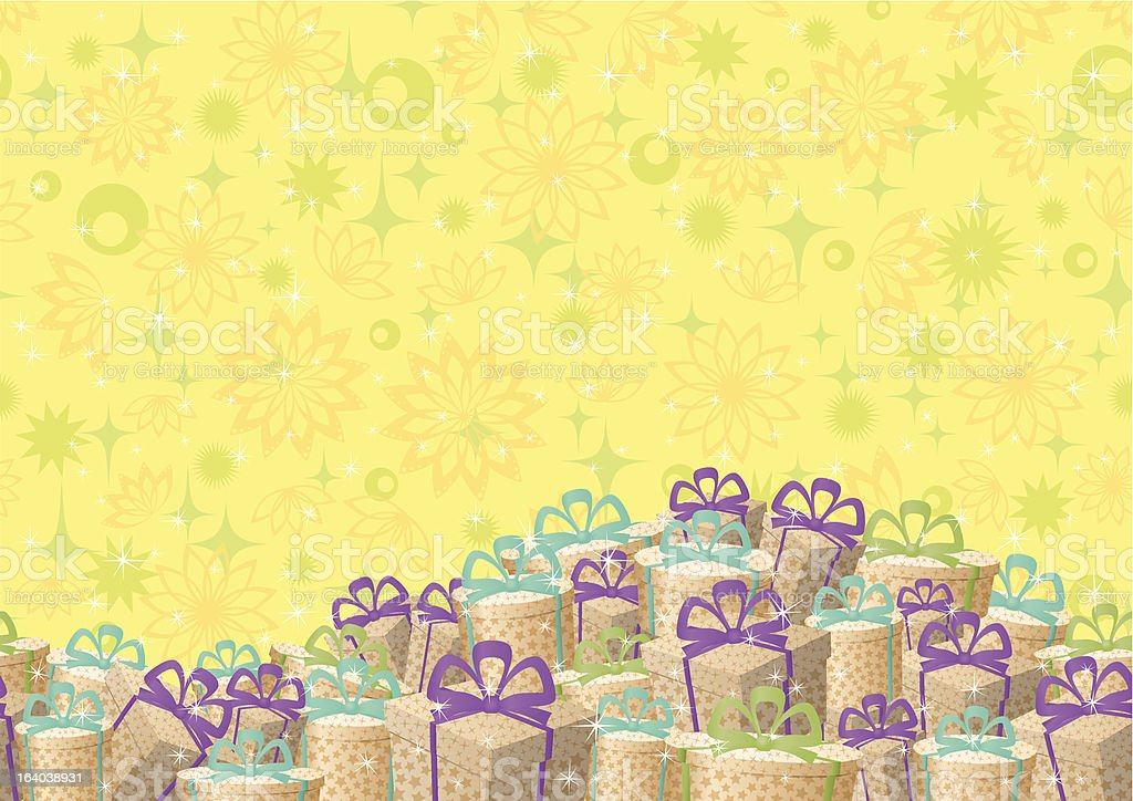 Holiday gift boxes, background royalty-free stock vector art