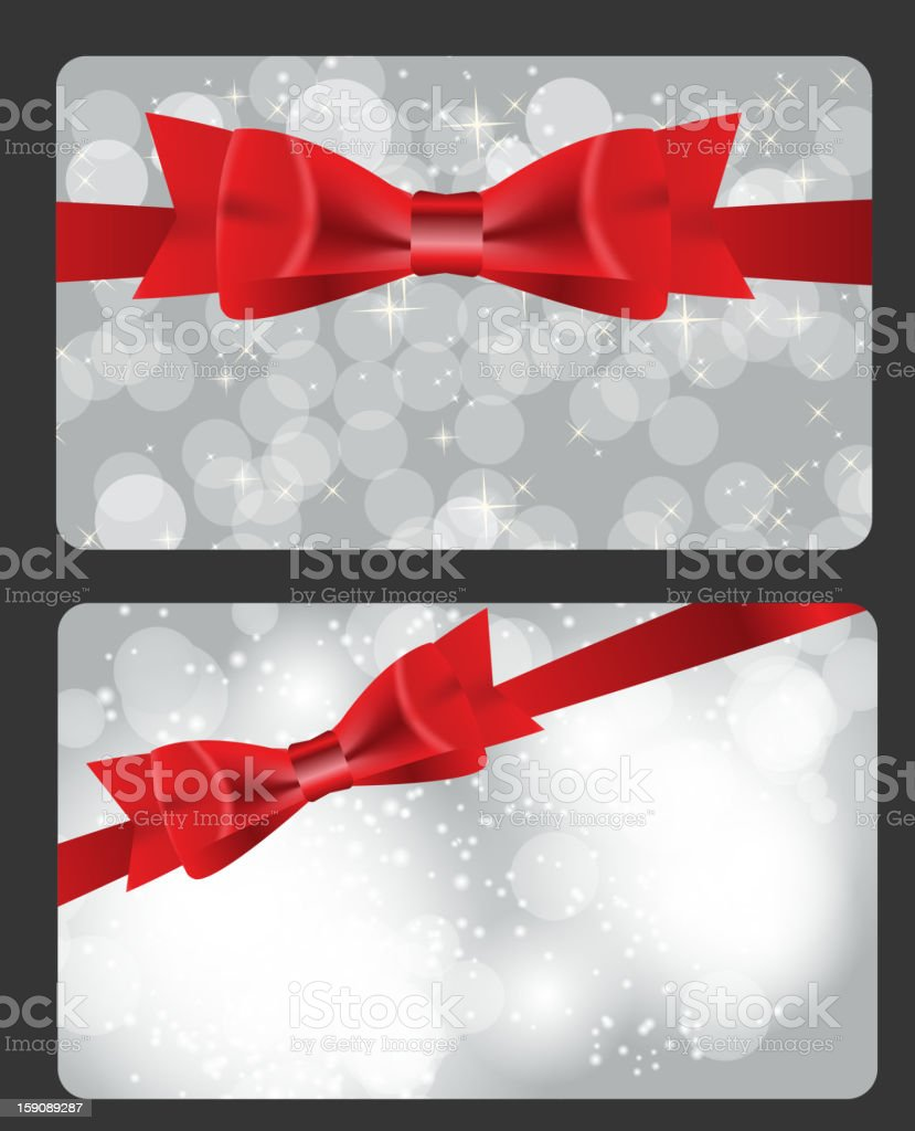 Holiday gift cards with red bow royalty-free stock vector art