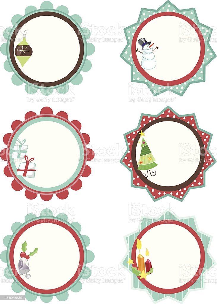 Holiday Gift Tags for Christmas royalty-free stock vector art