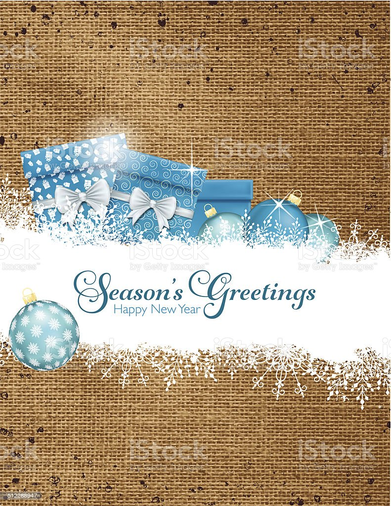 Holiday Gifts and Snow On Burlap Background vector art illustration