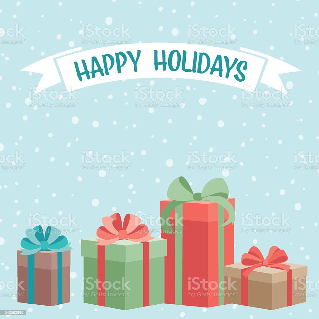 Holiday Gifts Background vector art illustration