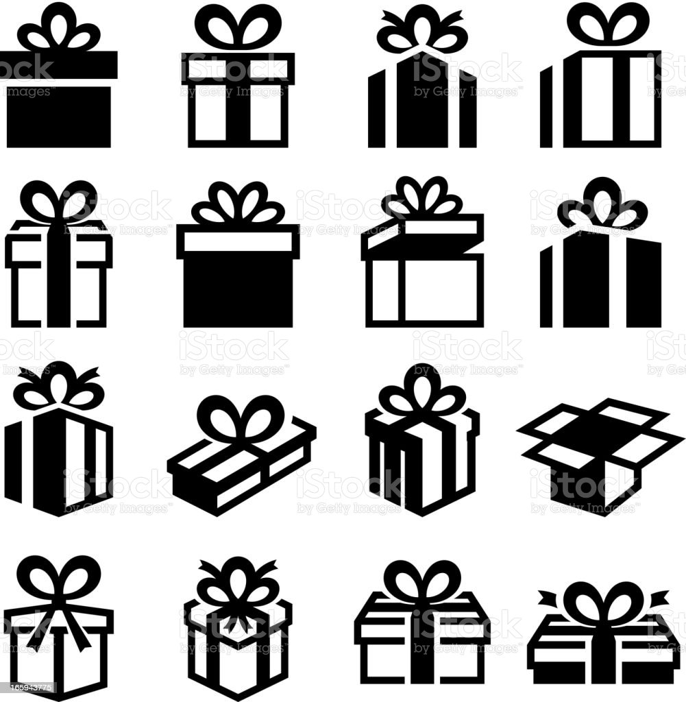 Holiday gifts gift boxes black & white vector icon set royalty-free stock vector art
