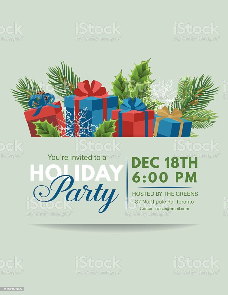 Holiday Gifts Party Invitation template vector art illustration