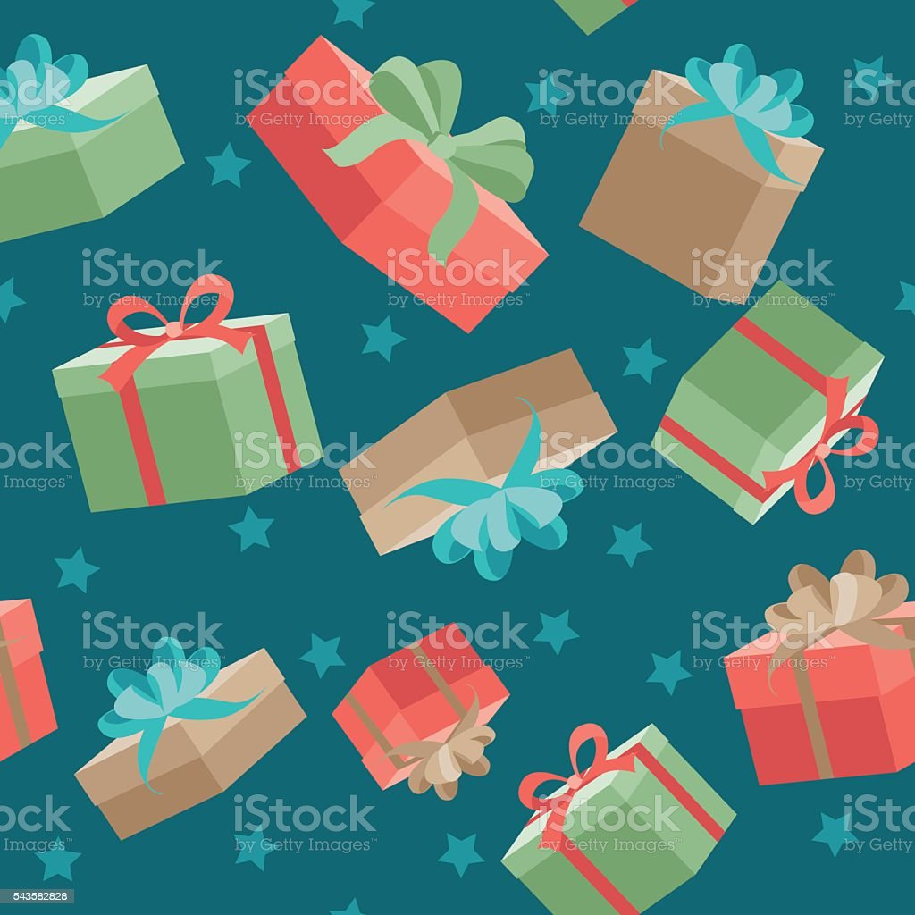 Holiday Gifts Seamless Background vector art illustration