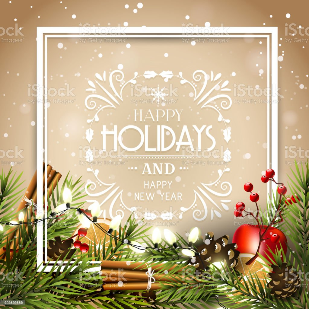 Holiday greeting card vector art illustration