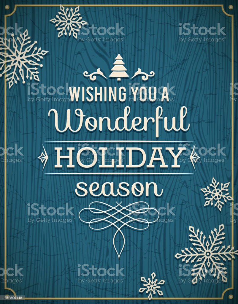 Holiday Greetings on Wooden Background royalty-free stock vector art