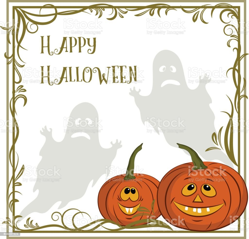 Background for Holiday Halloween Design, Cartoon Ghosts Silhouettes...