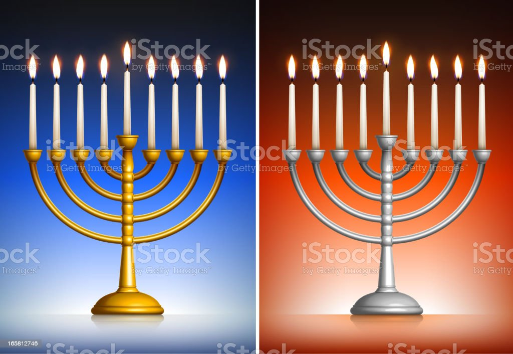 Holiday Hanukkah Menorah Set on Dark Background royalty-free stock vector art