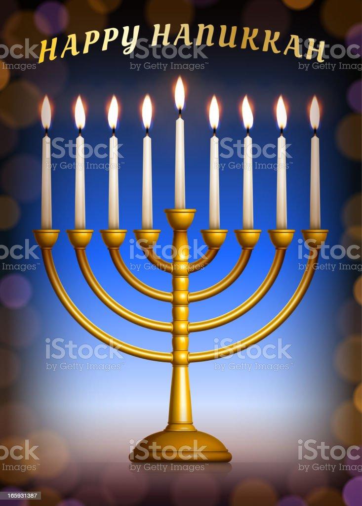Holiday Hanukkah Menorah Set on Lens Flare Background vector art illustration