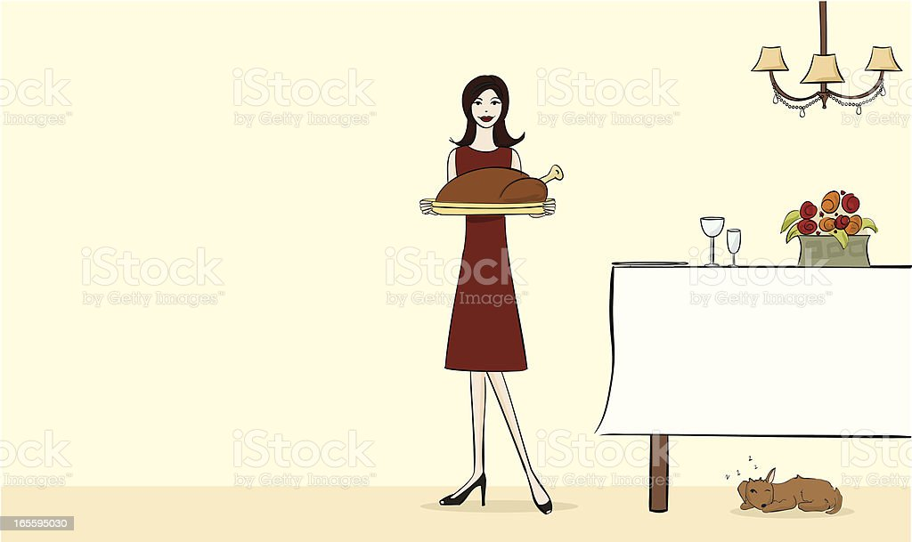 Holiday Hostess vector art illustration