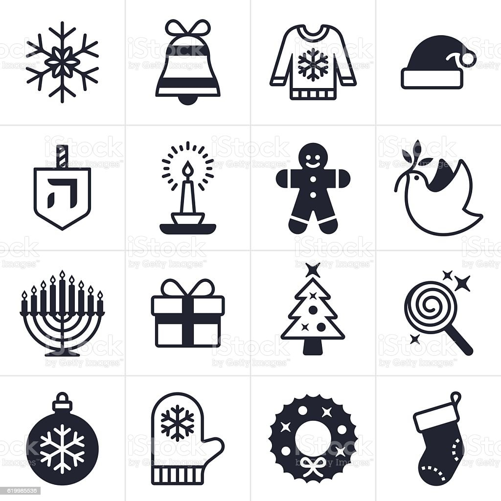 Holiday Icons and Symbols vector art illustration