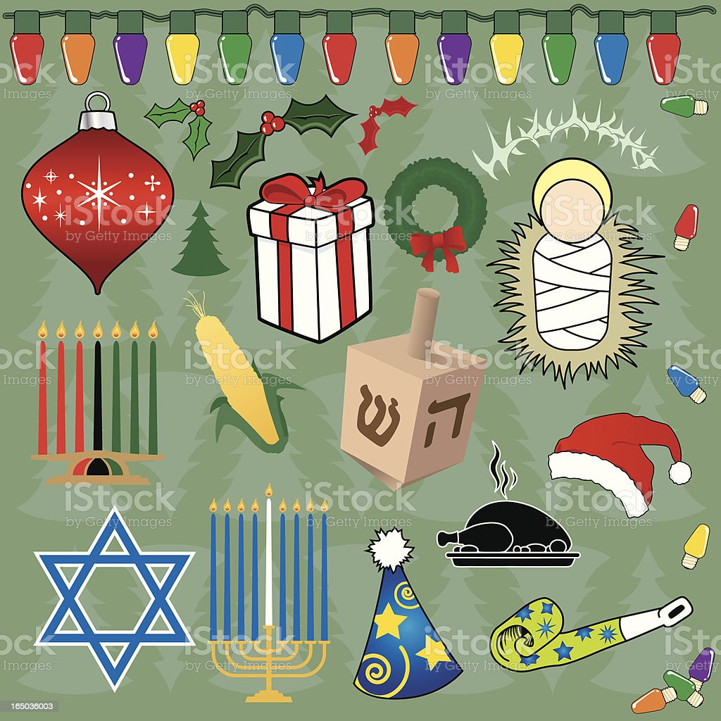 Holiday Icons (vector) vector art illustration