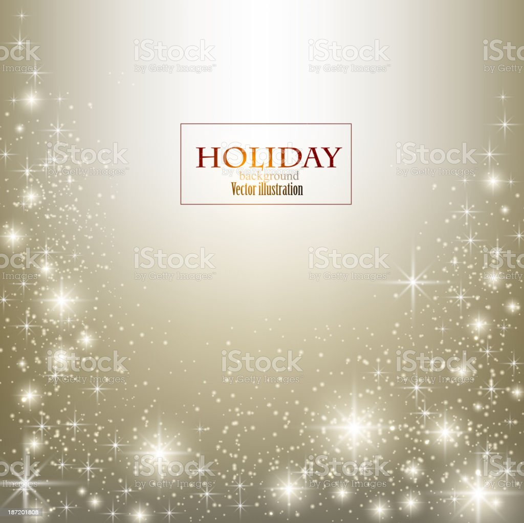 Holiday Illustration of white sparkles on gold background royalty-free stock vector art