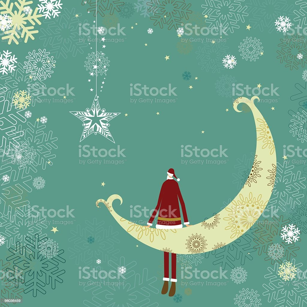 Holiday illustration with Santa sitting on the moon royalty-free stock vector art