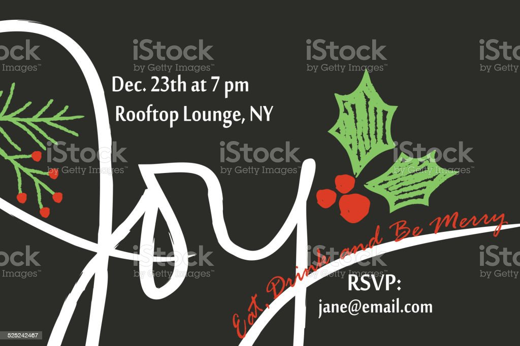 Holiday Invitation Card vector art illustration