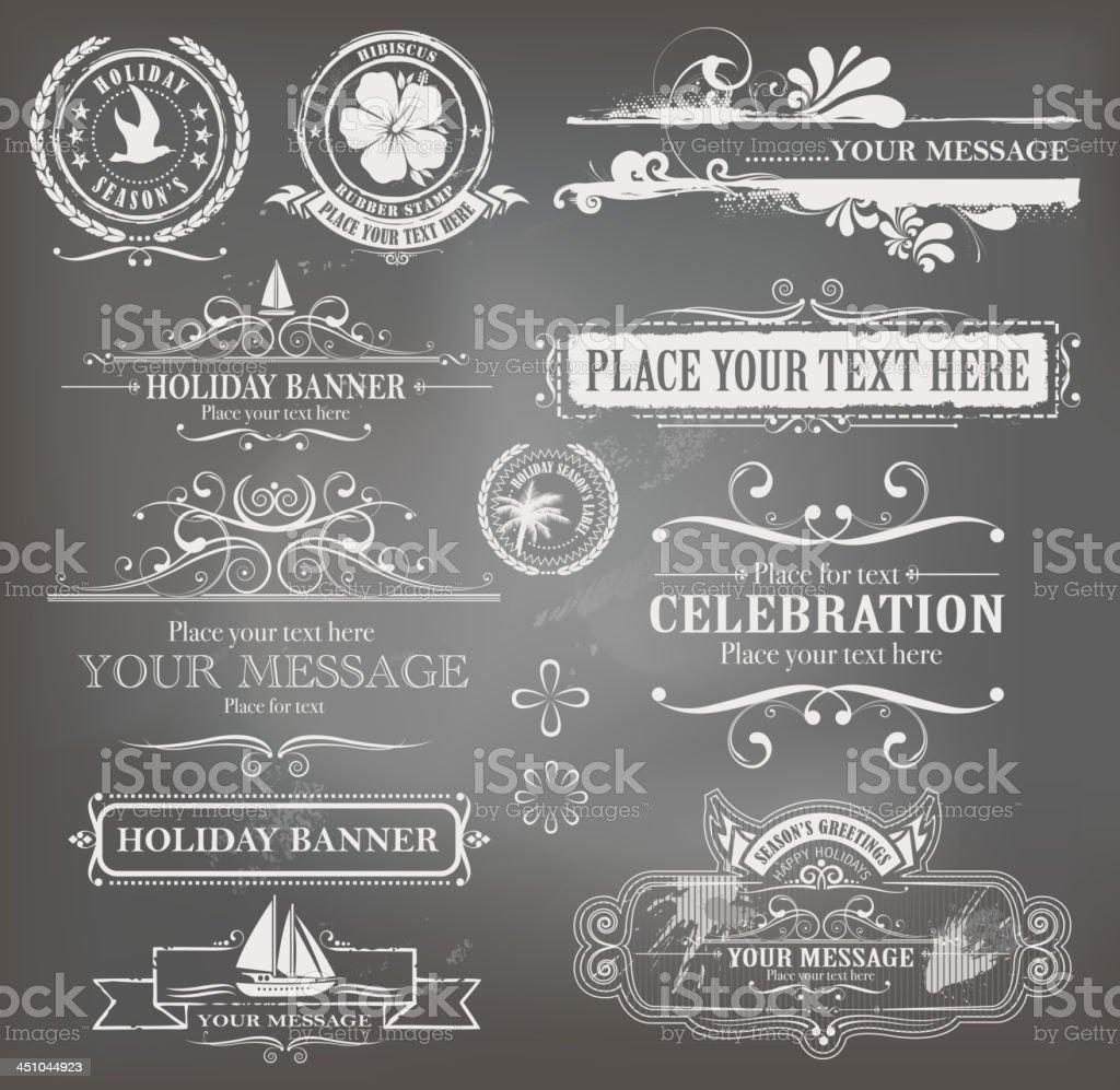 holiday labels on blackboard vector art illustration