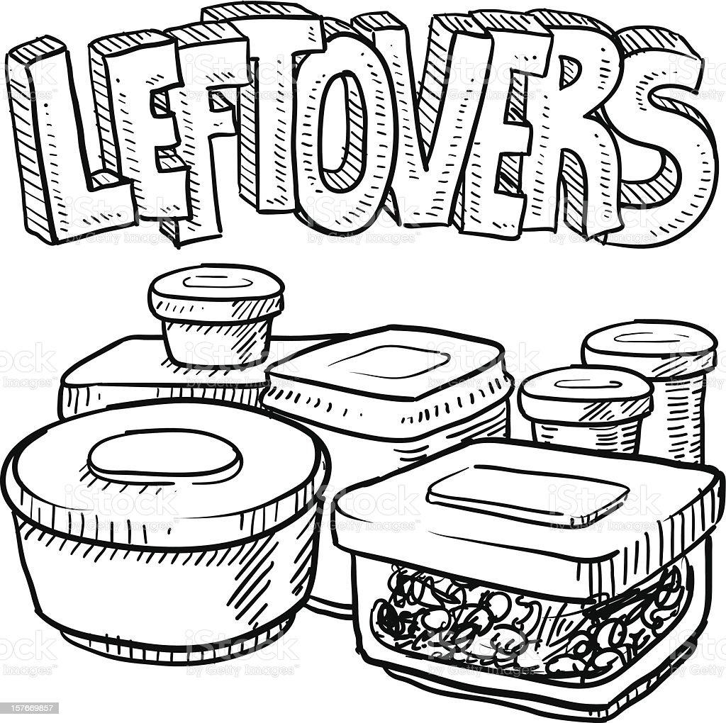 Holiday leftovers food sketch vector art illustration