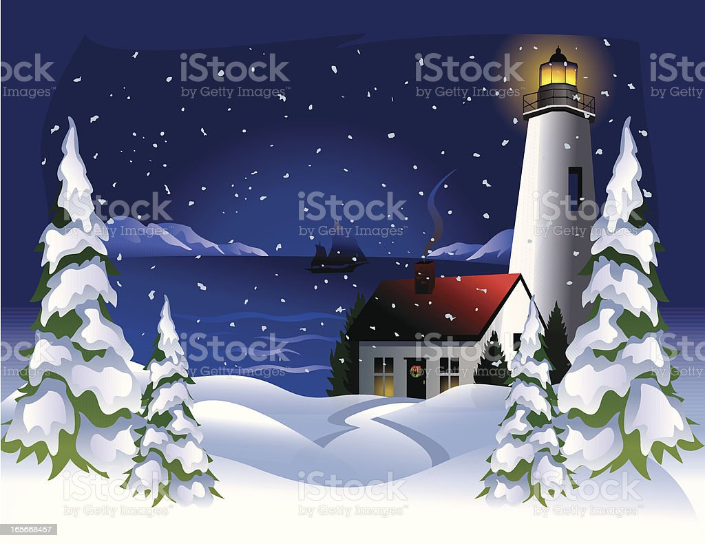 Holiday Lighthouse royalty-free stock vector art