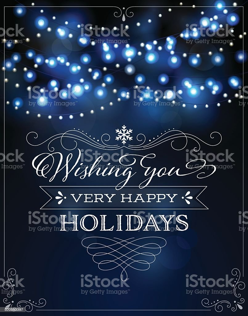 Holiday Lights Background with Frame and Greeting vector art illustration