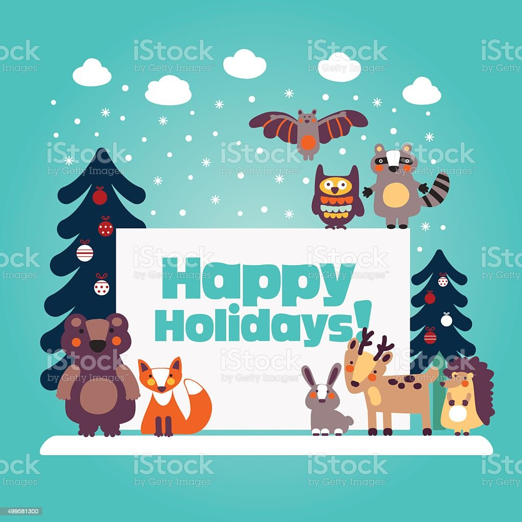 Holiday lovely card with funny cute animals and Christmas trees vector art illustration