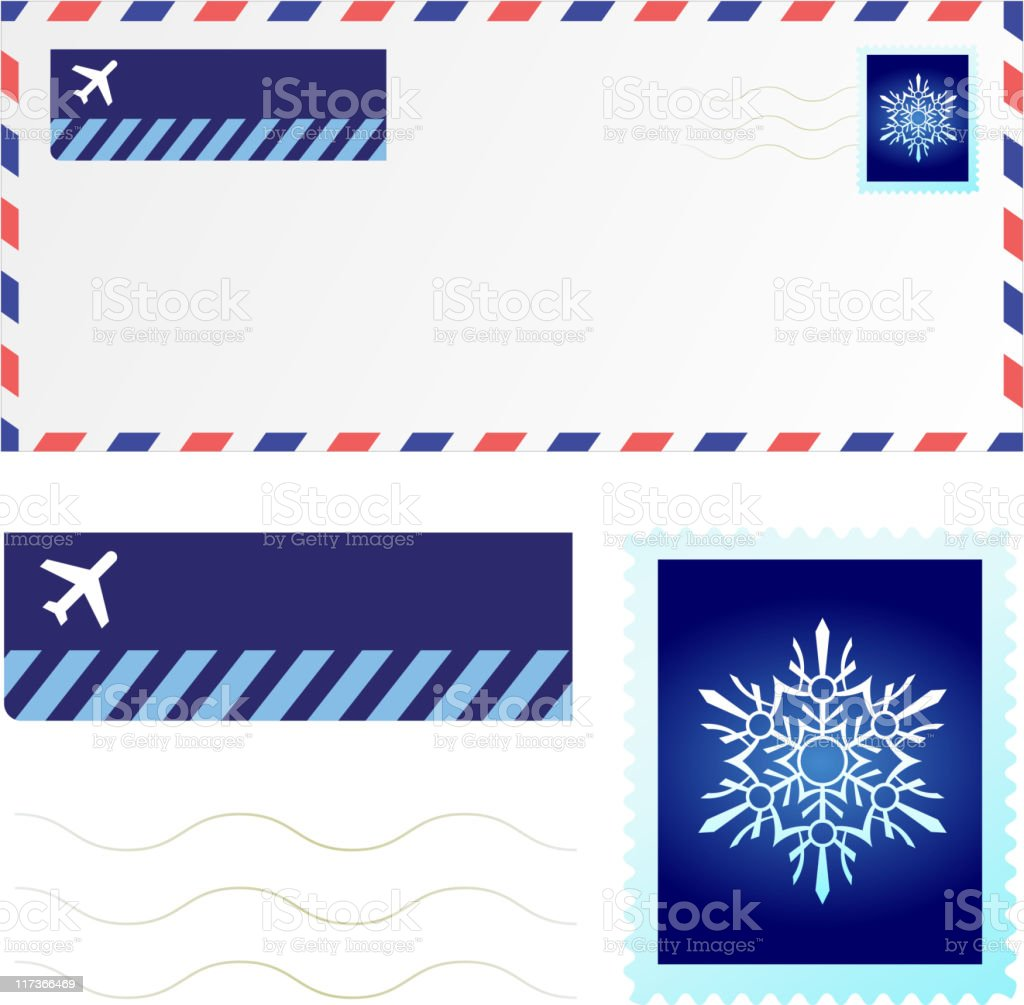 Holiday mail with original snowflake stamp design royalty-free stock vector art