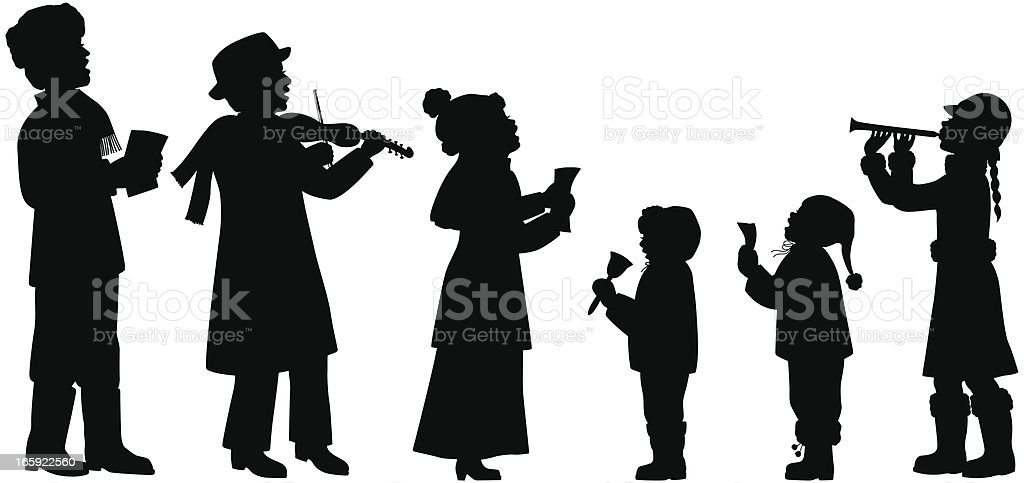 Holiday Musicians Silhouettes vector art illustration