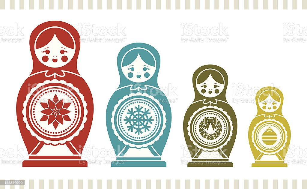 Holiday Nesting Dolls royalty-free stock vector art