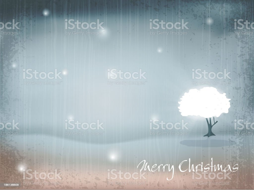holiday, New Year's, retro background with tree and falling snow royalty-free stock vector art