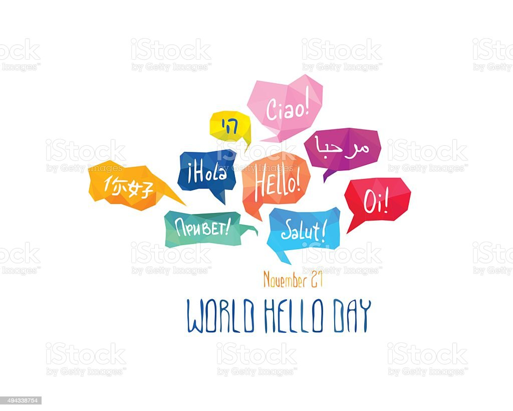 Holiday November 21 - World hello day. vector art illustration