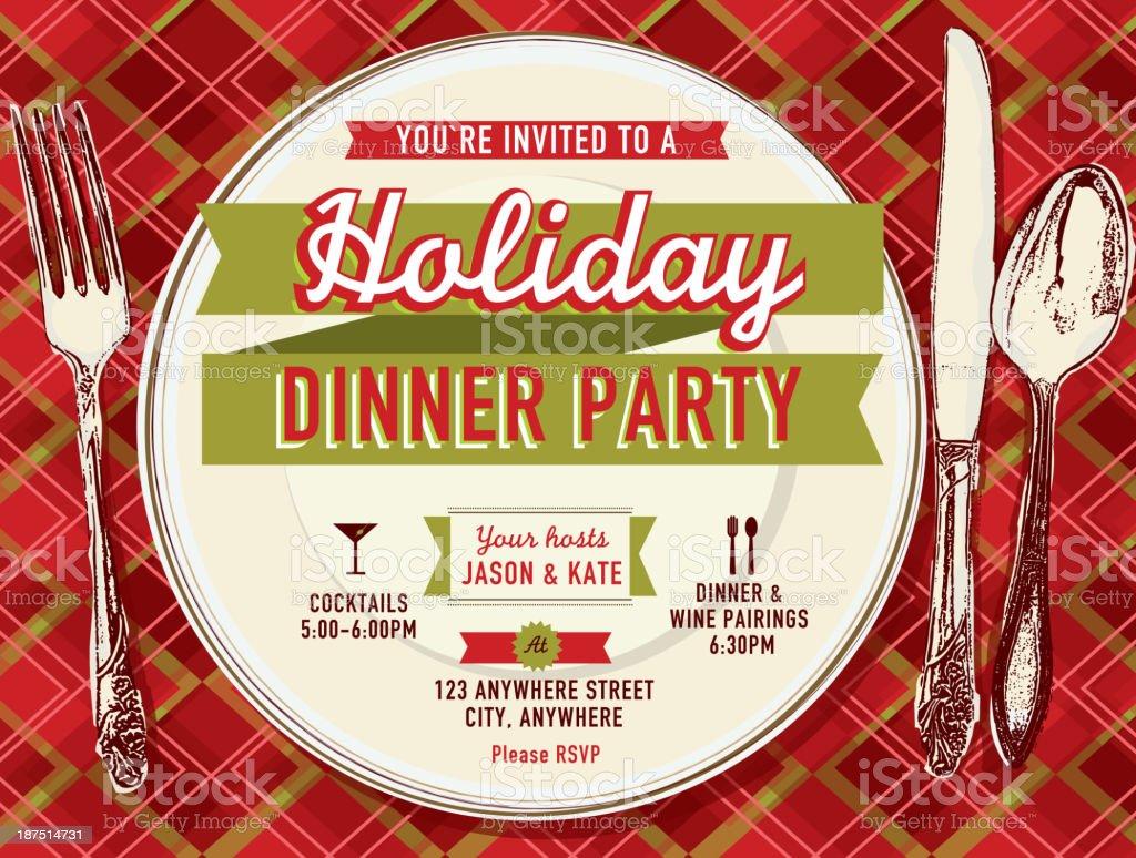 Holiday party dinner invitation design template vector art illustration