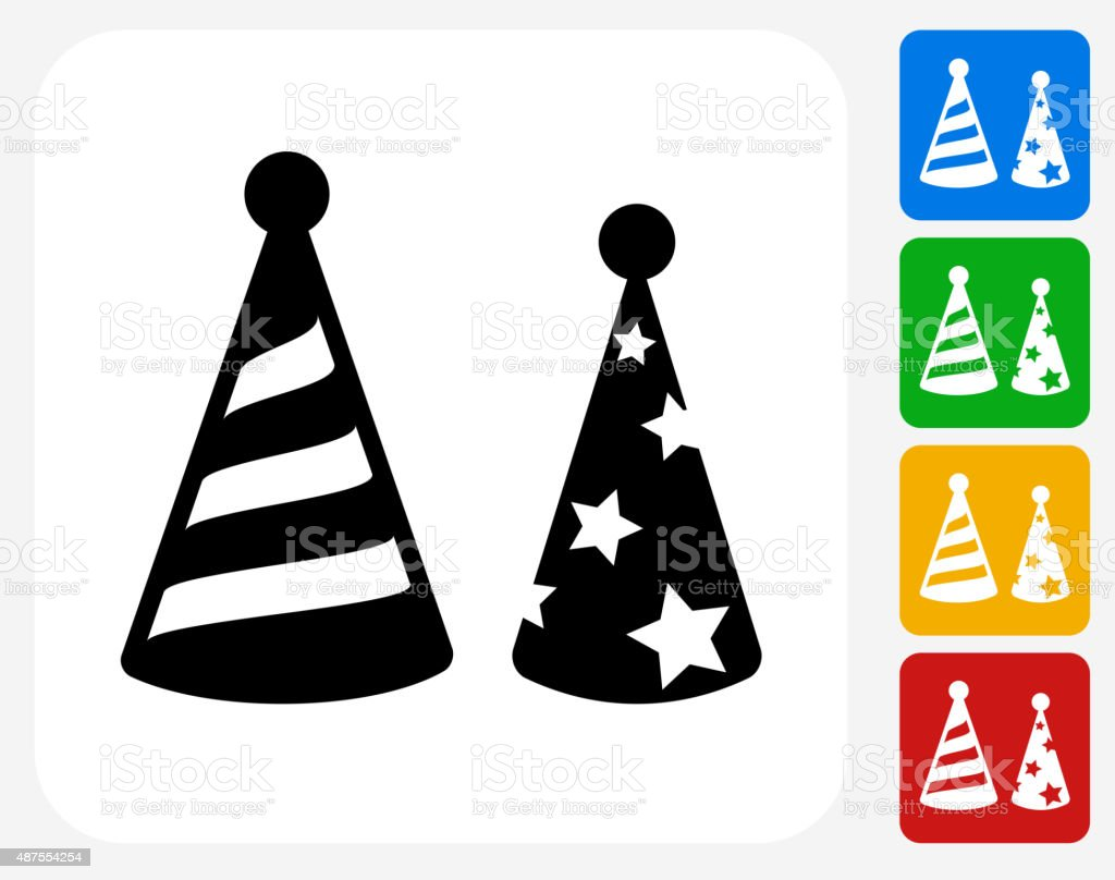 Holiday Party Hats Icon Flat Graphic Design vector art illustration