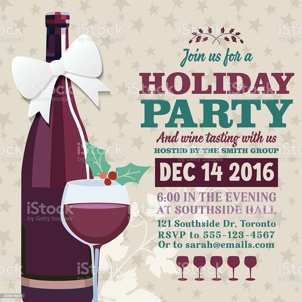Holiday Party Invitation Template With Wine Tasting. There is a cute...