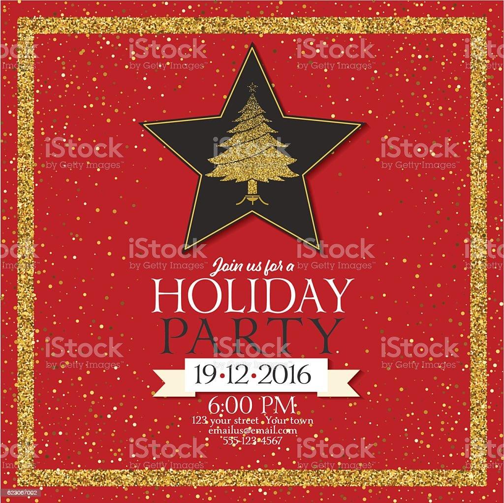 Holiday Party Invitation With Golden Metallic Glitter vector art illustration